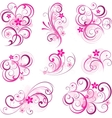 Pink abstract scroll flowers background vector