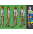 Isometric service man in four position vector