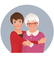 Elderly mother and adult daughter vector