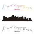 Boston skyline linear style with rainbow vector