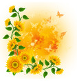 Orange background with sunflowers and butterflies vector
