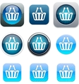 Shopping cart blue app icons vector
