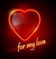 Neon red heart vector