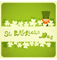St patricks day card with shamrock and leprechaun vector