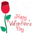 Single rose valentines day card in format vector