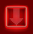 Red arrow down neon icon vector