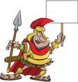 Cartoon spartan holding a sign vector