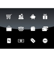 Shopping icons on black background vector