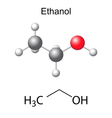 Structural chemical formula and model of ethanol vector