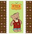Birthday greeting card with teddy bear vector