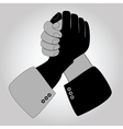 Handshake blue shaking hands vector