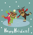 Deer couple on the figured skates vector