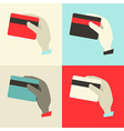 Flat design hands with credit cards set vector