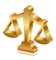 Gold justice scales 3d vector