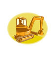 Mechanical digger excavator retro vector