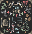 Vintage christmas chalkboard hand drawn set 2 vector