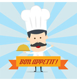 Chef serving food in the dish vector
