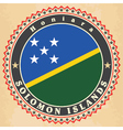 Vintage label cards of solomon islands flag vector