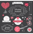 Set wedding vintage hand drawn invitation vector