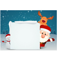 Santa claus with reindeer and snowman in winter la vector