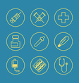 Medical flat design thin line icons set vector
