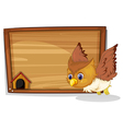 An owl flying near the wooden board vector