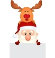 Santa claus and reindeer with blank sign vector