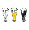 Set of retro styled label of beer glass vector