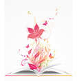 Open book and pink flower vector