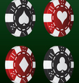 Card suit poker chips vector