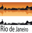 Rio de janeiro skyline in orange background vector