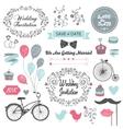 Set of vintage wedding invitation design elements vector