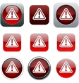 Exclamation sign red app icons vector