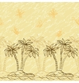 Seamless pattern palm trees and butterflies vector