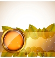 Abstract background with autumn leaves and glass vector