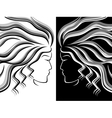 Female head silhouettes vector