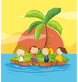 Kids on an island vector