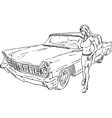 Old car and girl vector