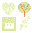 Eco set with tree heart house vector