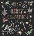 Vintage christmas chalkboard hand drawn set vector
