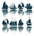 Sailing ship silhouettes vector