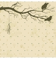 Grungy retro background with tree branch and birds vector