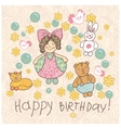 Happy birthday girl doodle vector