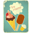 Ice cream retro poster vector