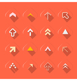 Flat design arrows set on red background vector