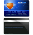 Credit card template detailed with orange shield vector
