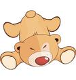 A fallen stuffed toy bear cub cartoon vector