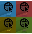 Color set globe flat modern web button with long vector