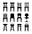 Old modern office and bar chairs set vector