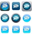 Blog blue app icons vector